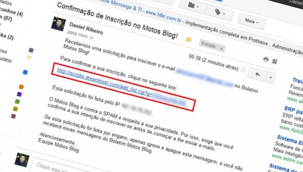 E-mail de confirmação do Boletim Motos Blog