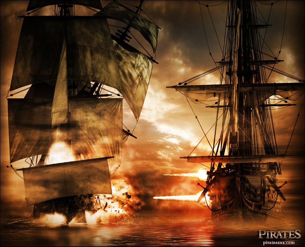 Embarcação pirata em combate