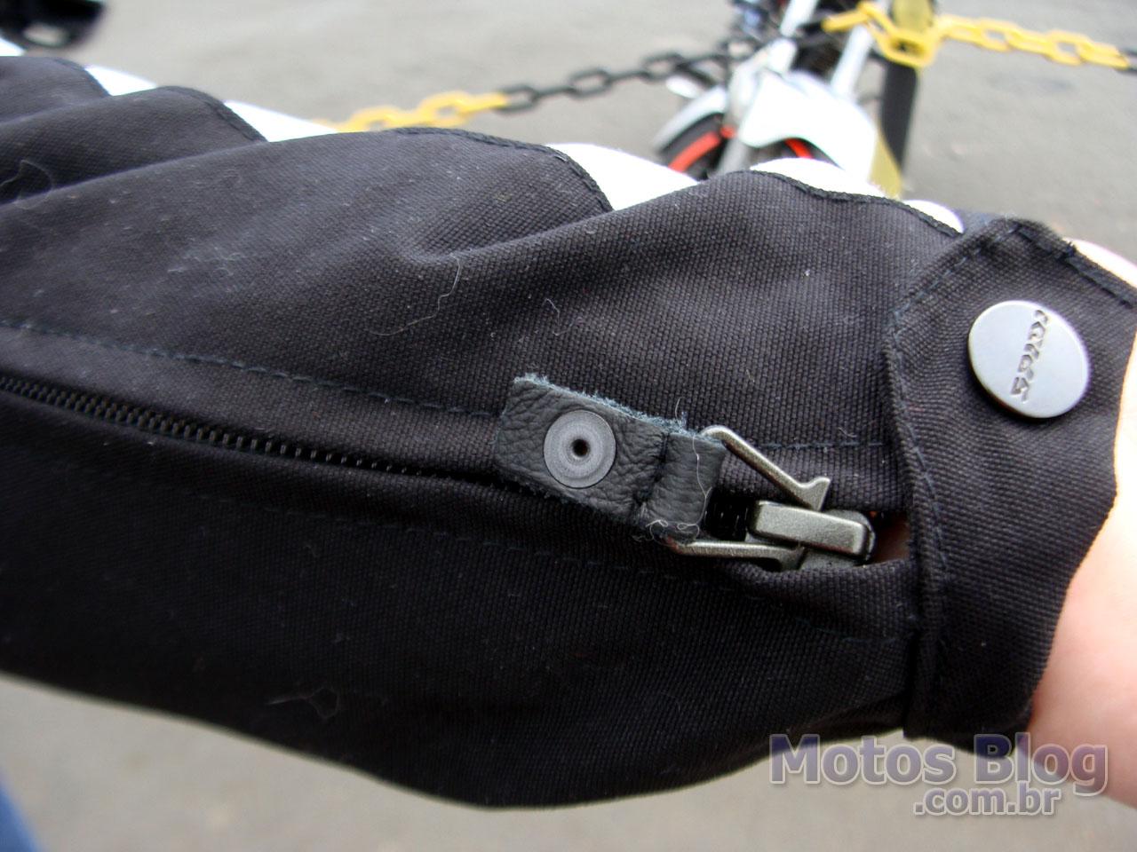Punho da manga com zíper e botão