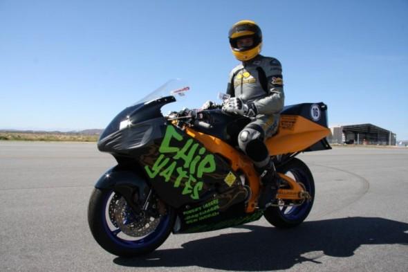 Chip Yates com a moto elétrica mais rápida