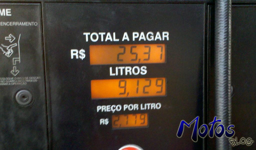 Veja quantos litros de combustível foram colocados no tanque