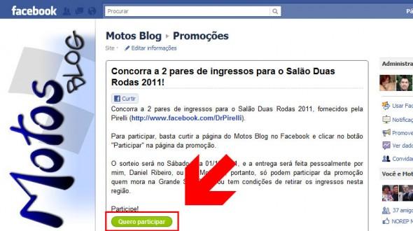 Promoção Motos Blog Facebook